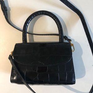 By far mini croco embossed top handle bag black